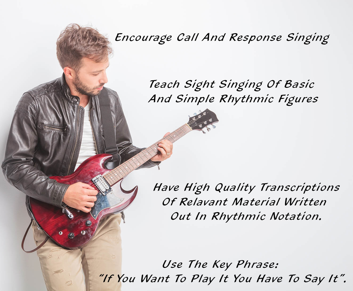 young guitarist in leather jacket playing his electric guitar in studio
